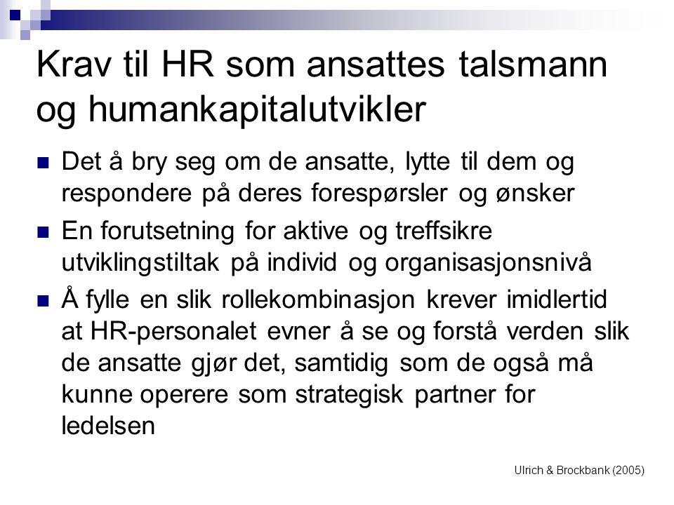Krav til HR som ansattes talsmann og humankapitalutvikler