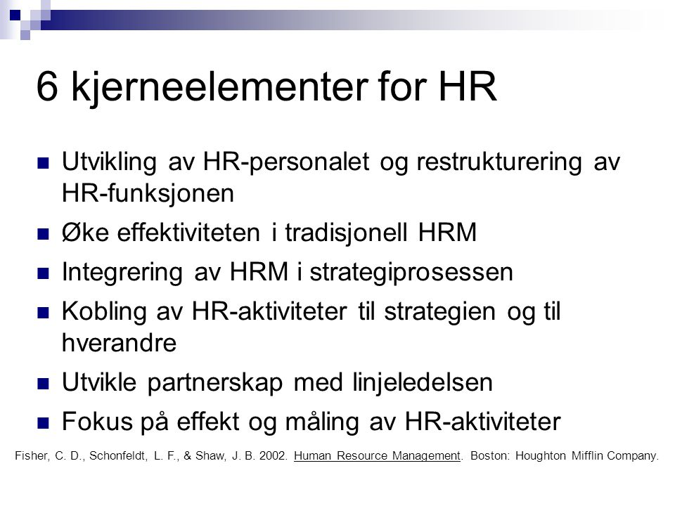 6 kjerneelementer for HR