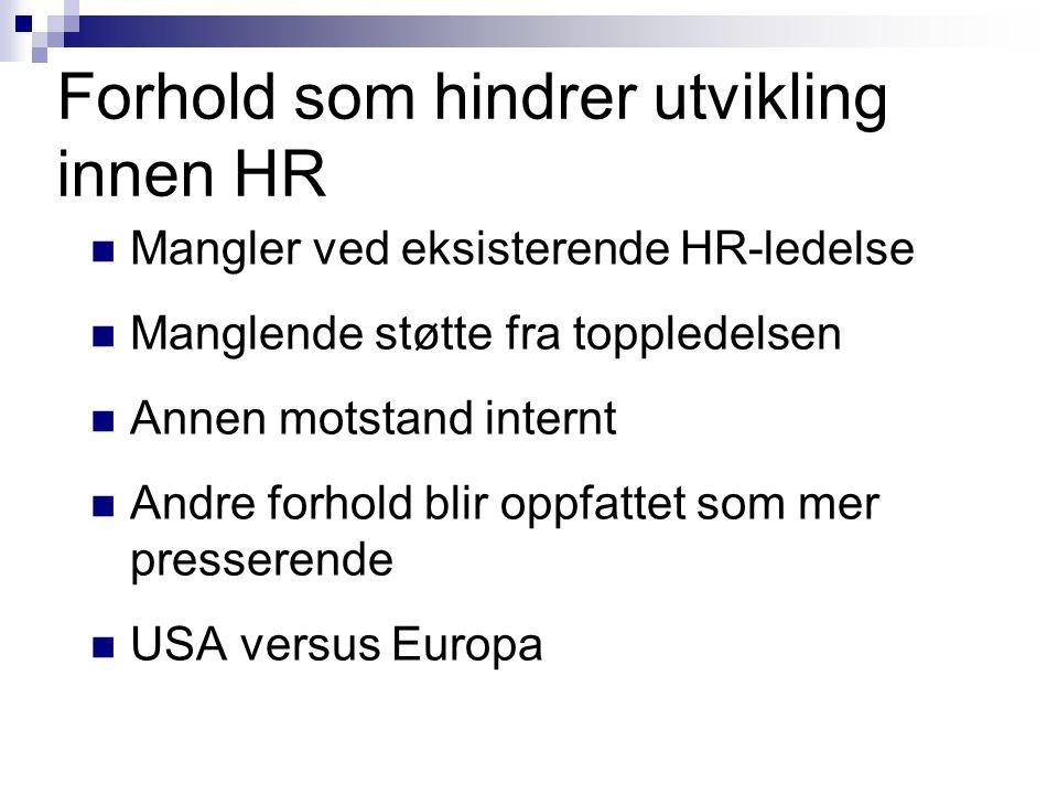 Forhold som hindrer utvikling innen HR