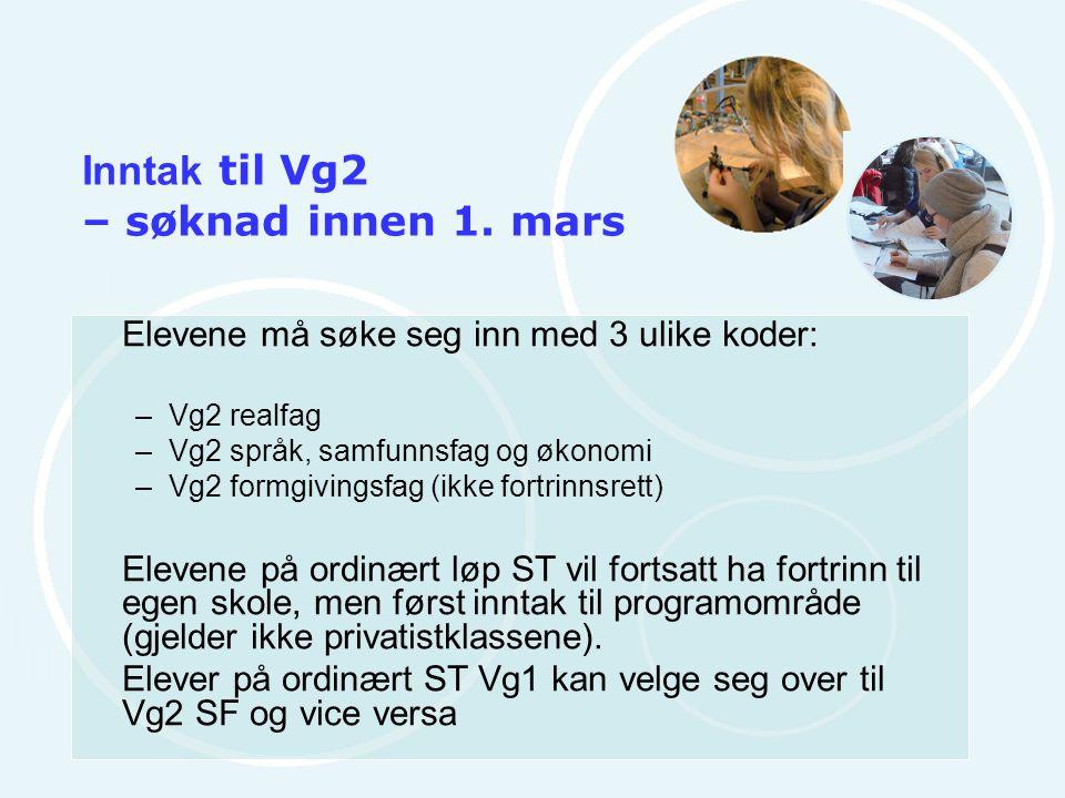 Inntak til Vg2 – søknad innen 1. mars