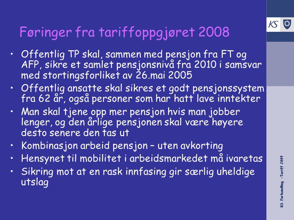 Føringer fra tariffoppgjøret 2008