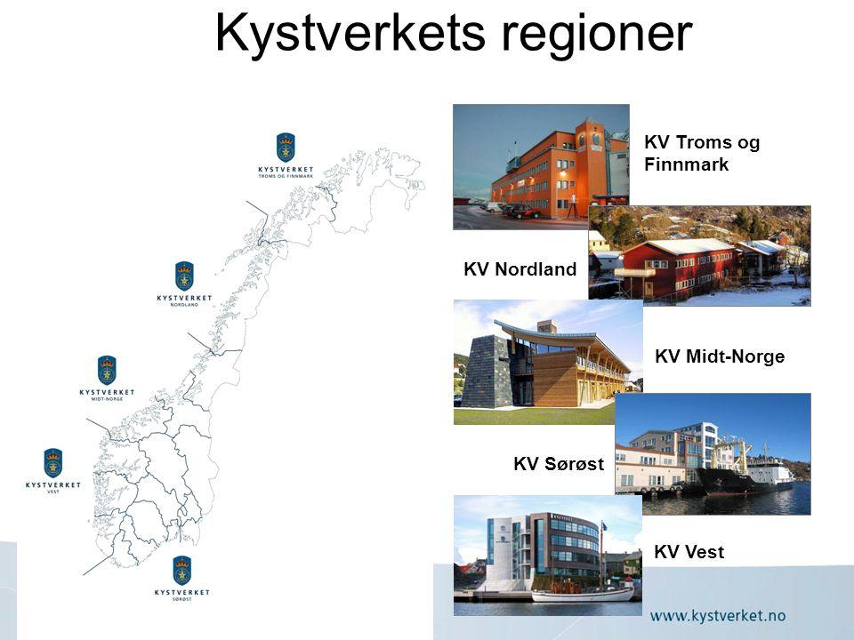 Kystverkets regioner KV Troms og Finnmark KV Nordland KV Midt-Norge