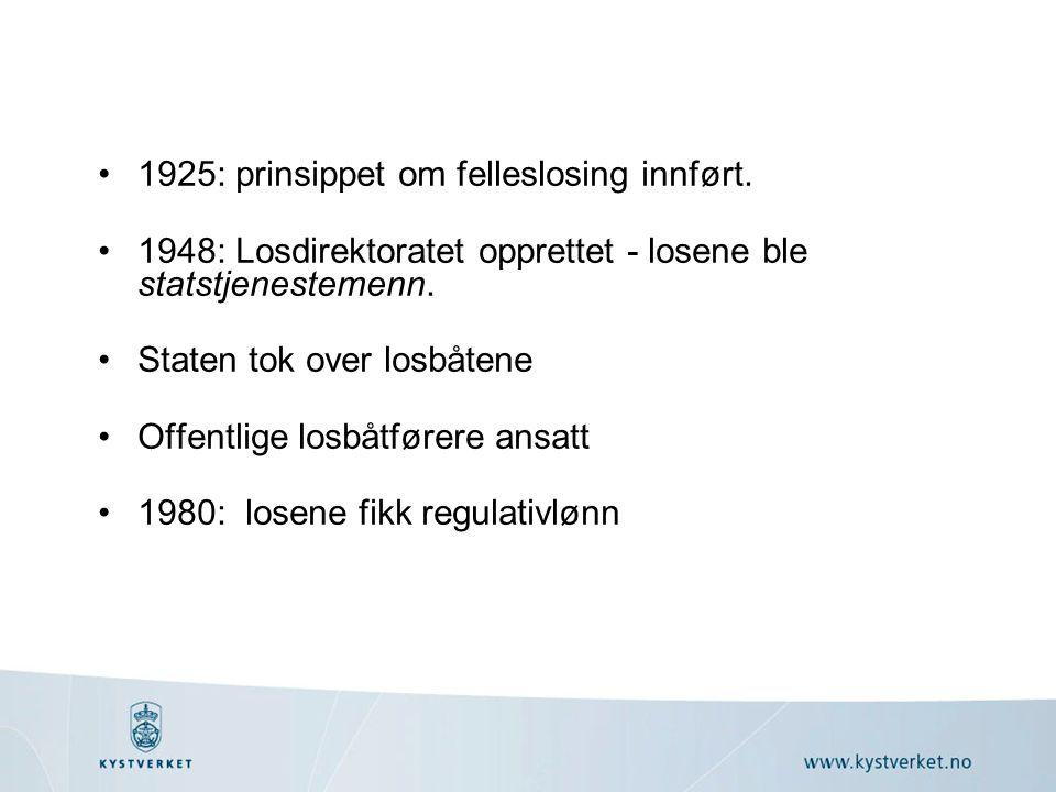 1925: prinsippet om felleslosing innført.