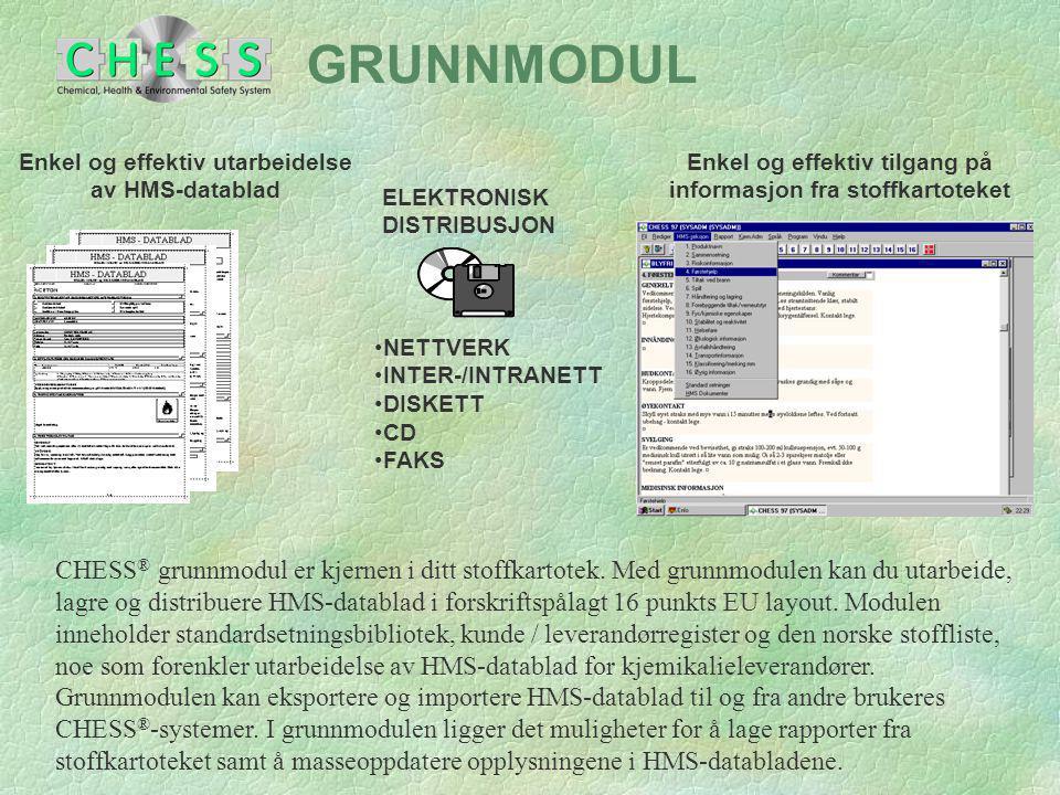 GRUNNMODUL ELEKTRONISK. DISTRIBUSJON. NETTVERK. INTER-/INTRANETT. DISKETT. CD. FAKS. Enkel og effektiv utarbeidelse av HMS-datablad.