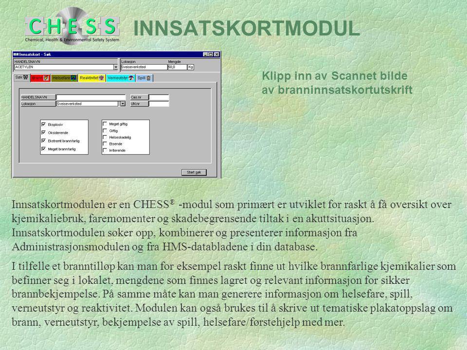 INNSATSKORTMODUL Klipp inn av Scannet bilde av branninnsatskortutskrift.