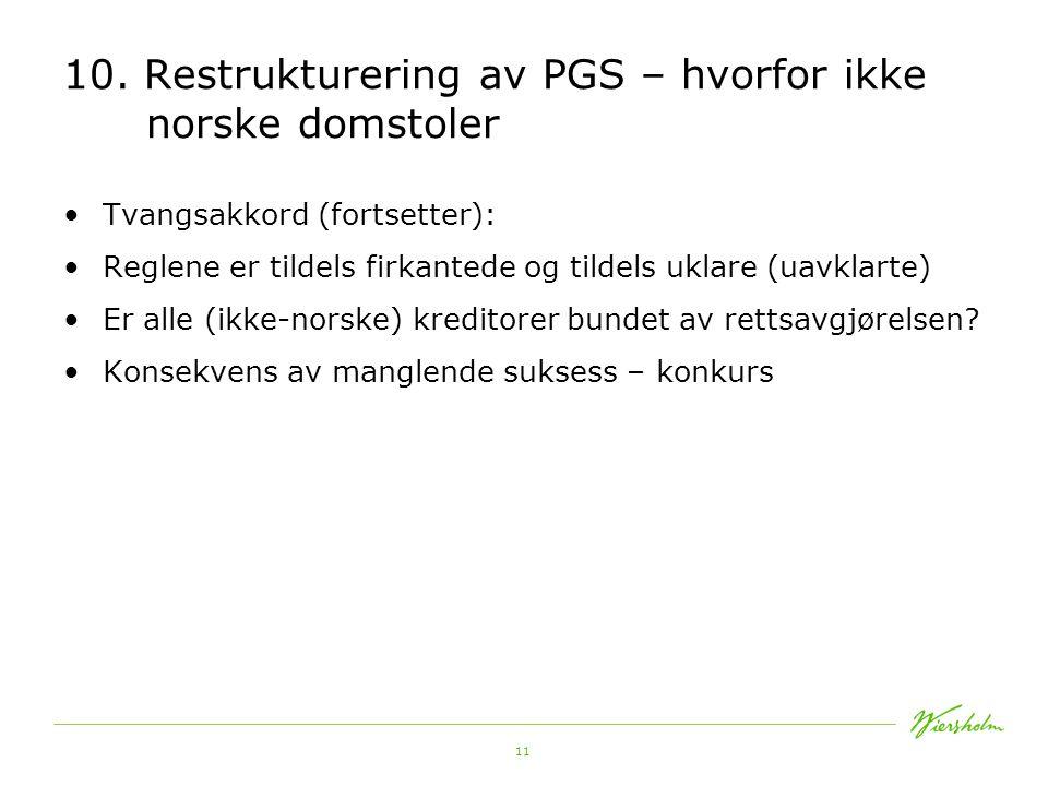 10. Restrukturering av PGS – hvorfor ikke norske domstoler