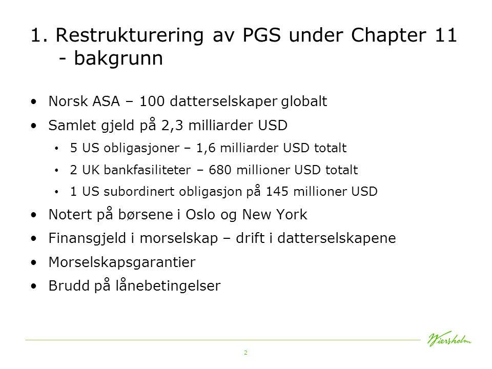 1. Restrukturering av PGS under Chapter 11 - bakgrunn