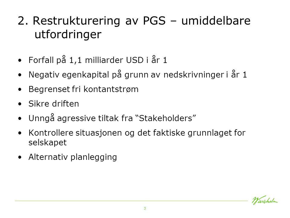 2. Restrukturering av PGS – umiddelbare utfordringer