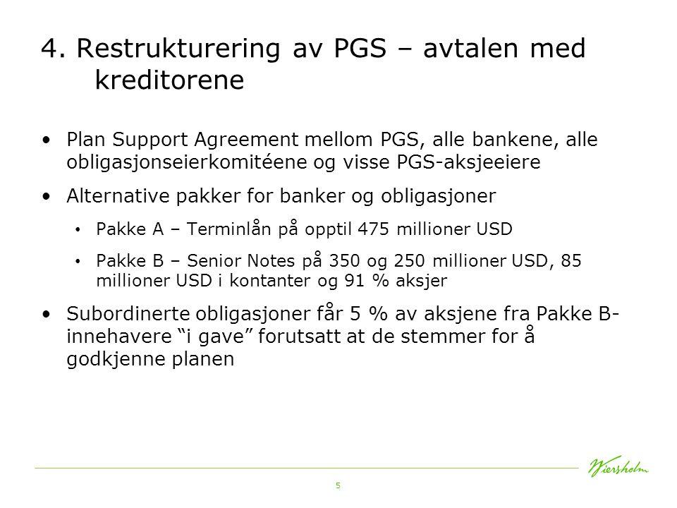 4. Restrukturering av PGS – avtalen med kreditorene