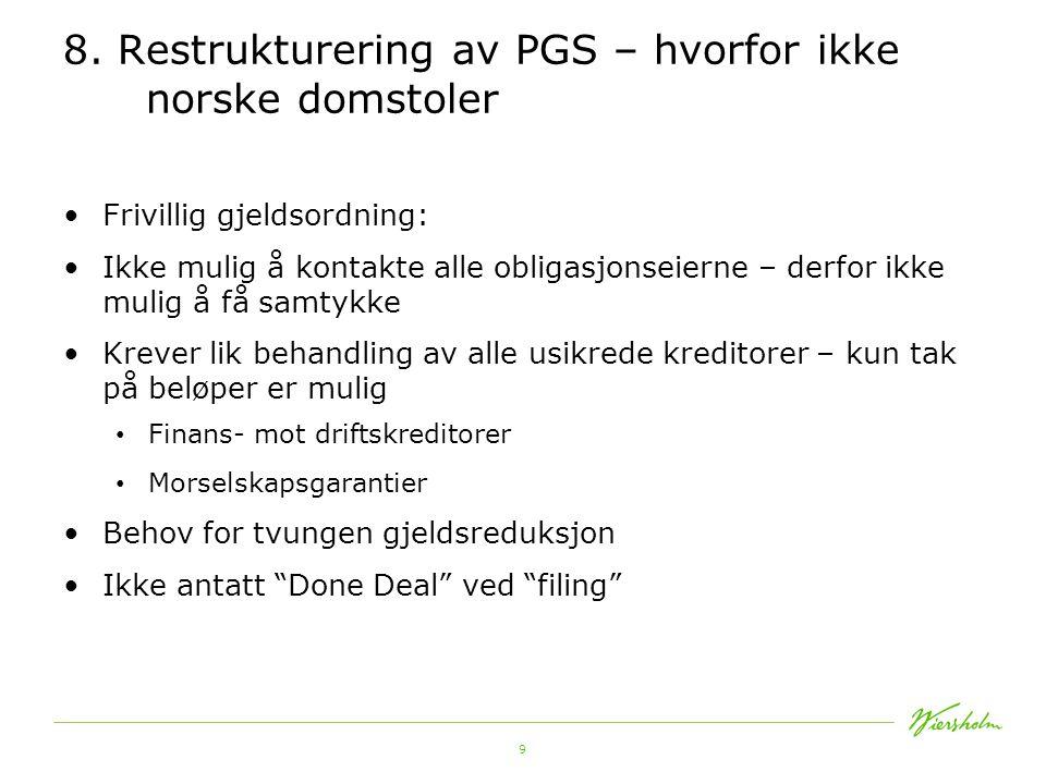8. Restrukturering av PGS – hvorfor ikke norske domstoler