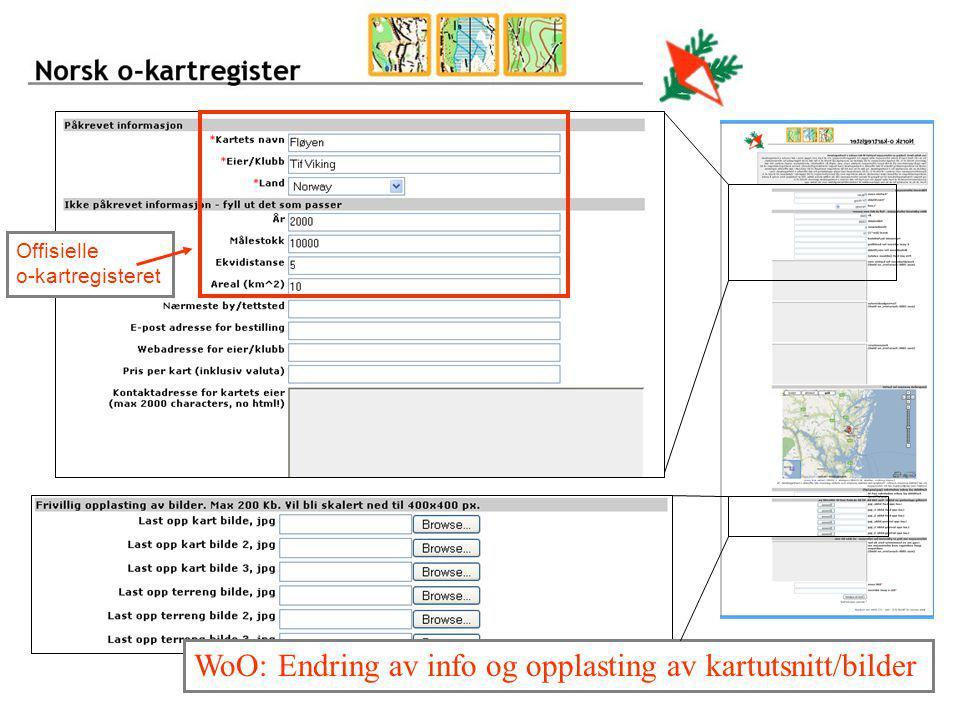 WoO: Endring av info og opplasting av kartutsnitt/bilder
