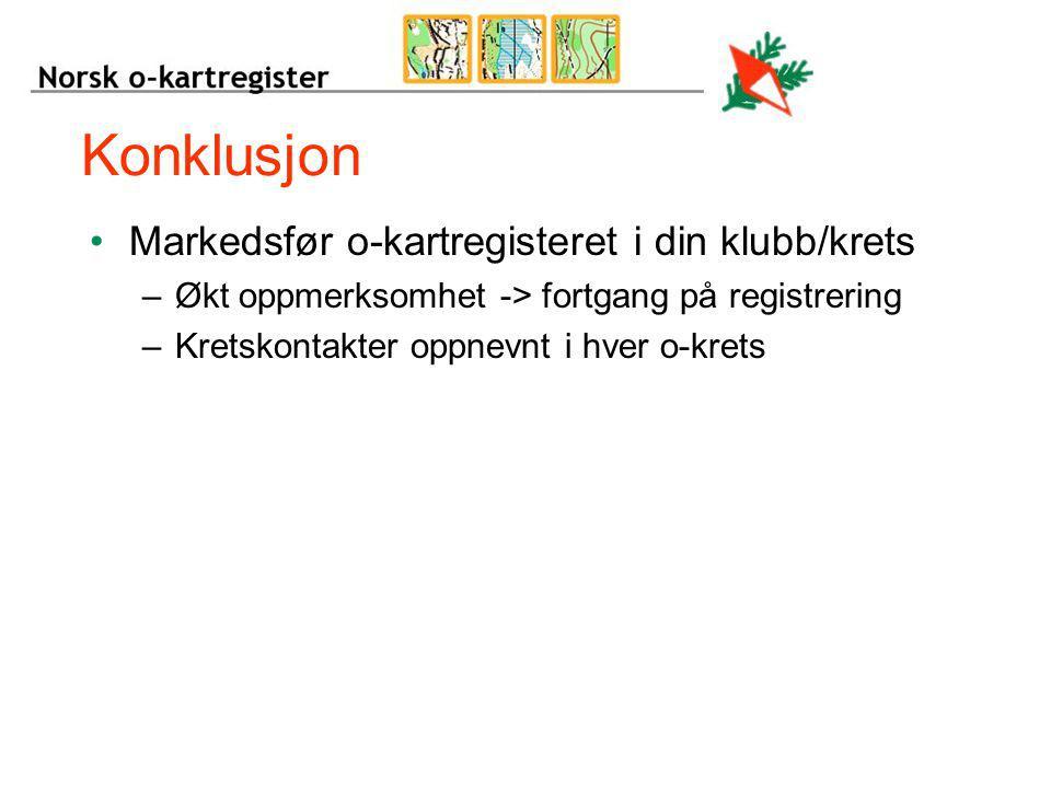 Konklusjon Markedsfør o-kartregisteret i din klubb/krets
