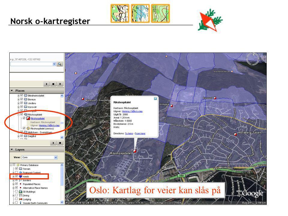 Oslo: Kartlag for veier kan slås på