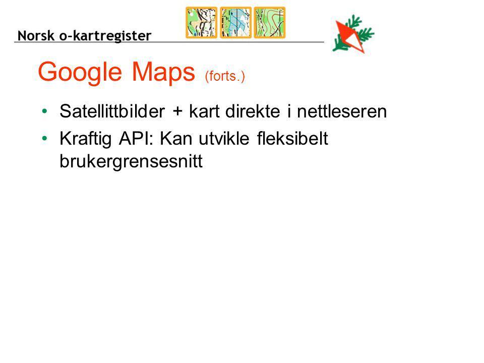 Google Maps (forts.) Satellittbilder + kart direkte i nettleseren