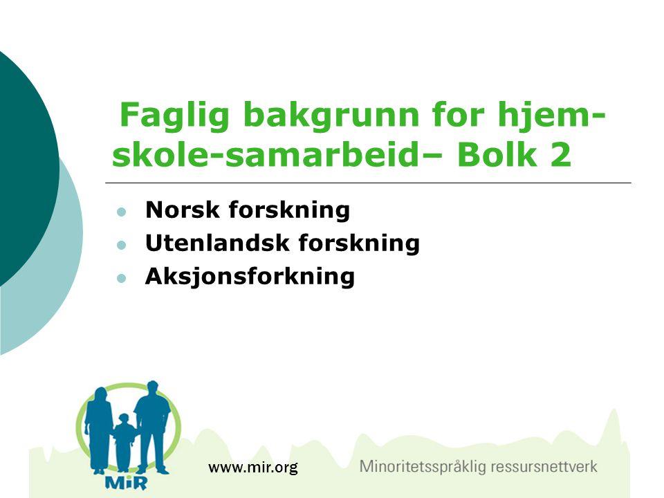 Faglig bakgrunn for hjem-skole-samarbeid– Bolk 2