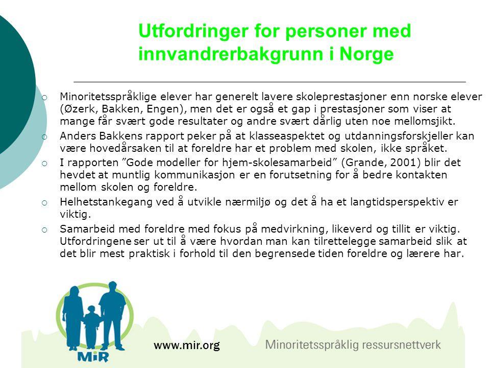 Utfordringer for personer med innvandrerbakgrunn i Norge