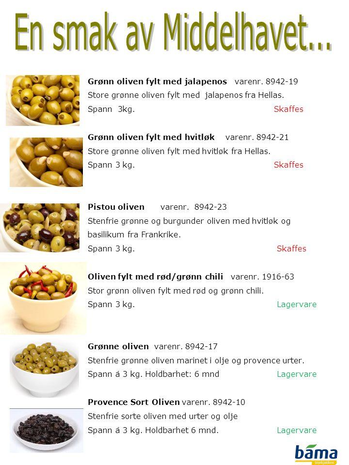En smak av Middelhavet... Grønn oliven fylt med jalapenos varenr. 8942-19. Store grønne oliven fylt med jalapenos fra Hellas.