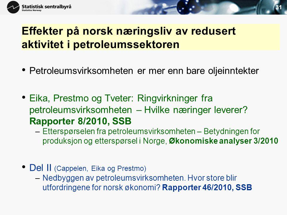 31 Effekter på norsk næringsliv av redusert aktivitet i petroleumssektoren. Petroleumsvirksomheten er mer enn bare oljeinntekter.