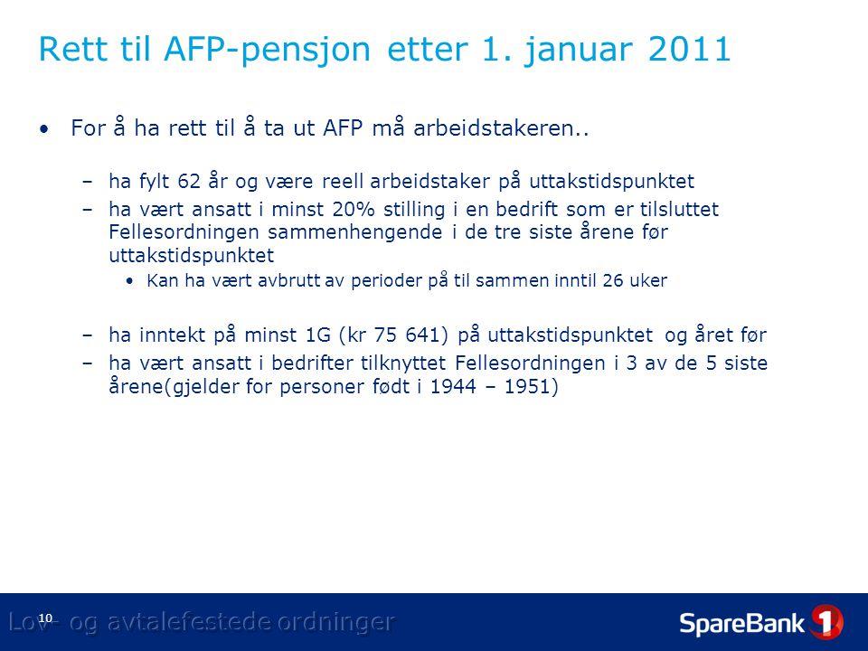Rett til AFP-pensjon etter 1. januar 2011