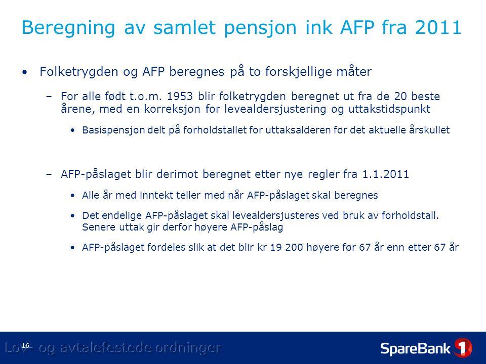 Beregning av samlet pensjon ink AFP fra 2011