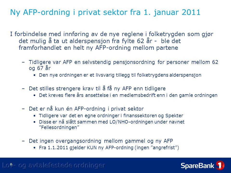 Ny AFP-ordning i privat sektor fra 1. januar 2011