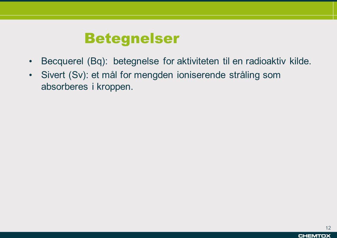 Betegnelser Becquerel (Bq): betegnelse for aktiviteten til en radioaktiv kilde.