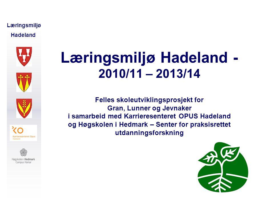 Læringsmiljø Hadeland - 2010/11 – 2013/14 Felles skoleutviklingsprosjekt for Gran, Lunner og Jevnaker i samarbeid med Karrieresenteret OPUS Hadeland og Høgskolen i Hedmark – Senter for praksisrettet utdanningsforskning