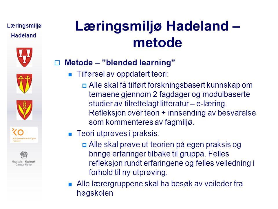 Læringsmiljø Hadeland – metode