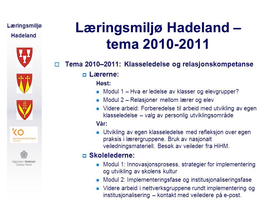 Læringsmiljø Hadeland – tema 2010-2011