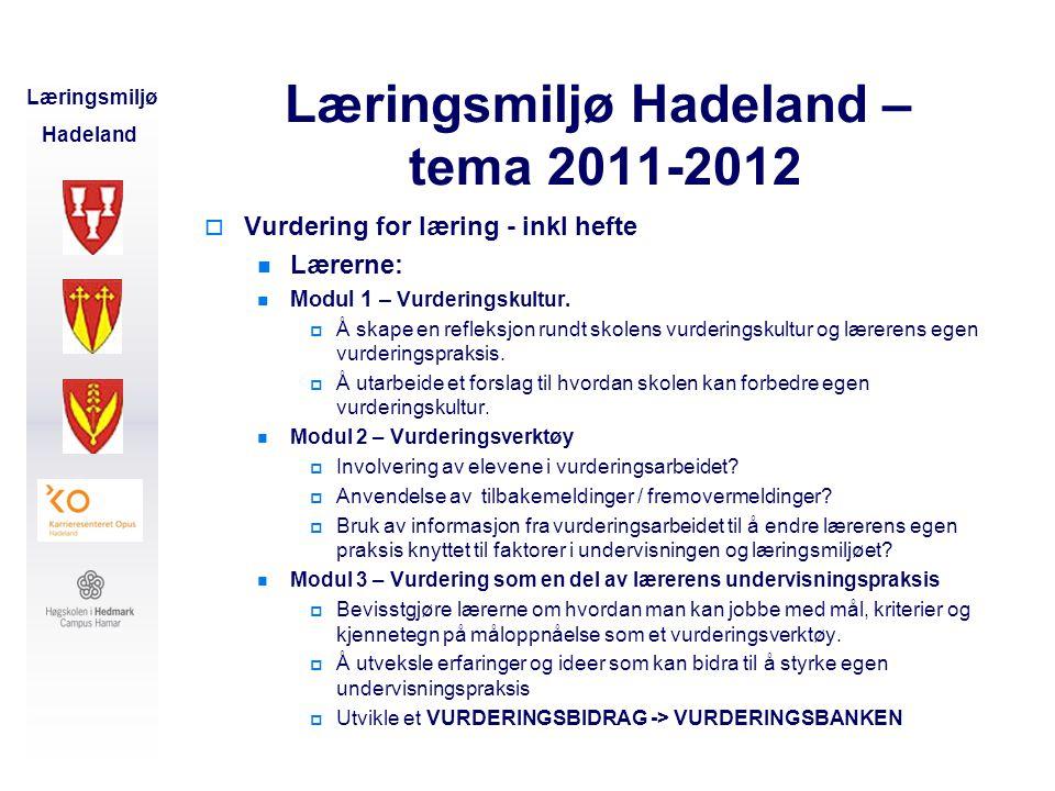 Læringsmiljø Hadeland – tema 2011-2012
