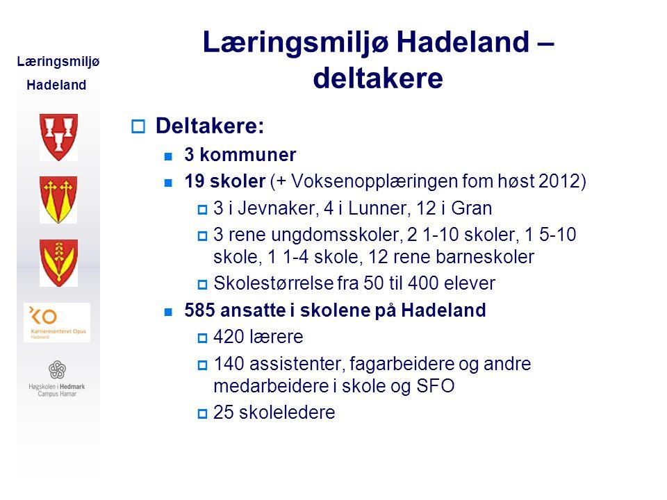 Læringsmiljø Hadeland – deltakere