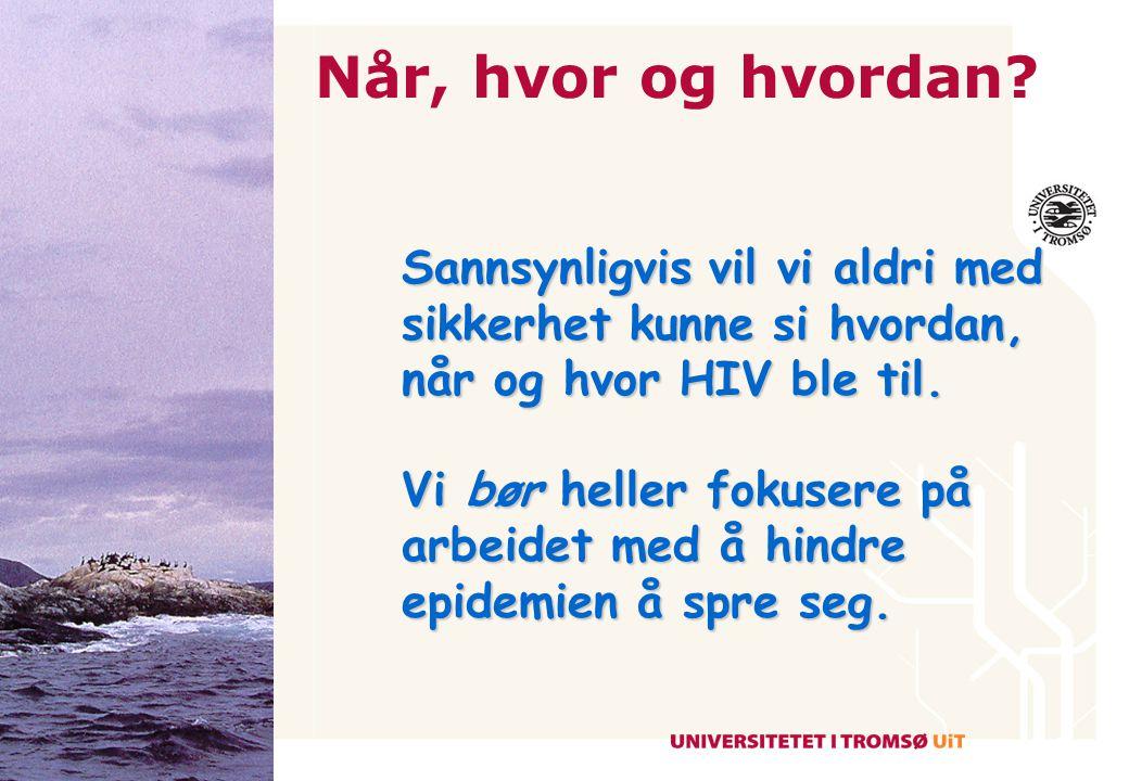 Når, hvor og hvordan Sannsynligvis vil vi aldri med sikkerhet kunne si hvordan, når og hvor HIV ble til.
