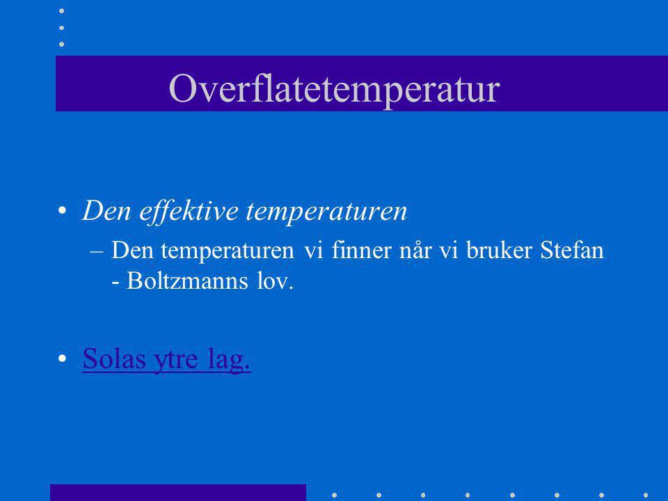 Overflatetemperatur Den effektive temperaturen Solas ytre lag.