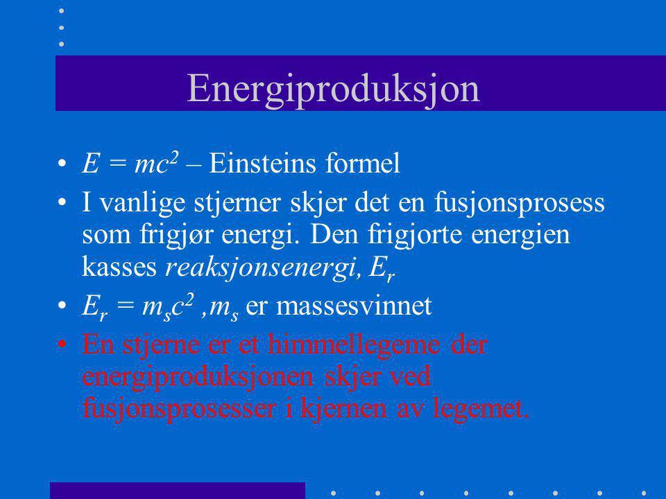 Energiproduksjon E = mc2 – Einsteins formel