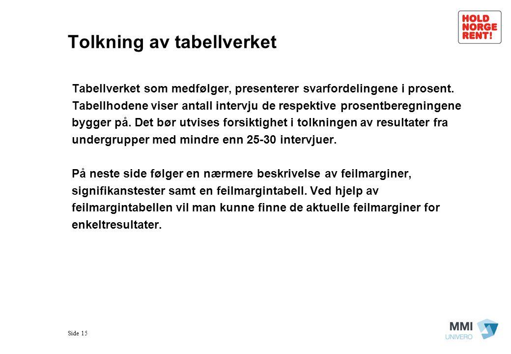 Tolkning av tabellverket