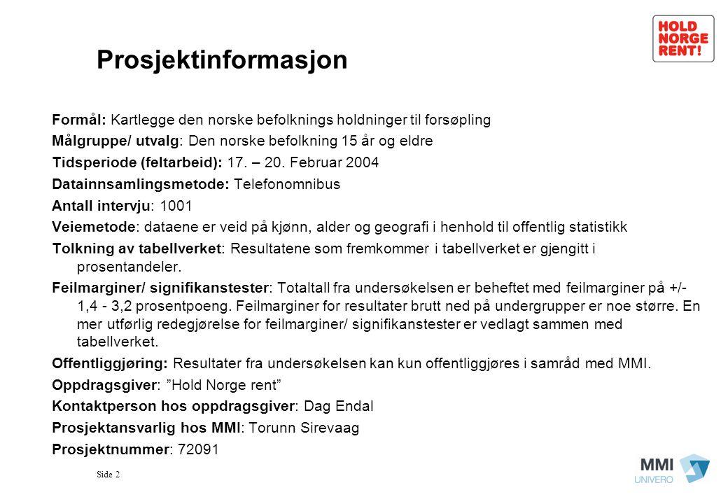 Prosjektinformasjon Formål: Kartlegge den norske befolknings holdninger til forsøpling. Målgruppe/ utvalg: Den norske befolkning 15 år og eldre.