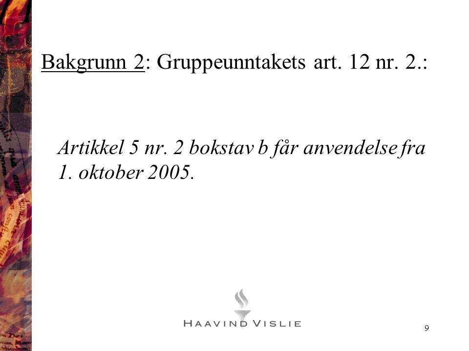 Bakgrunn 2: Gruppeunntakets art. 12 nr. 2.: