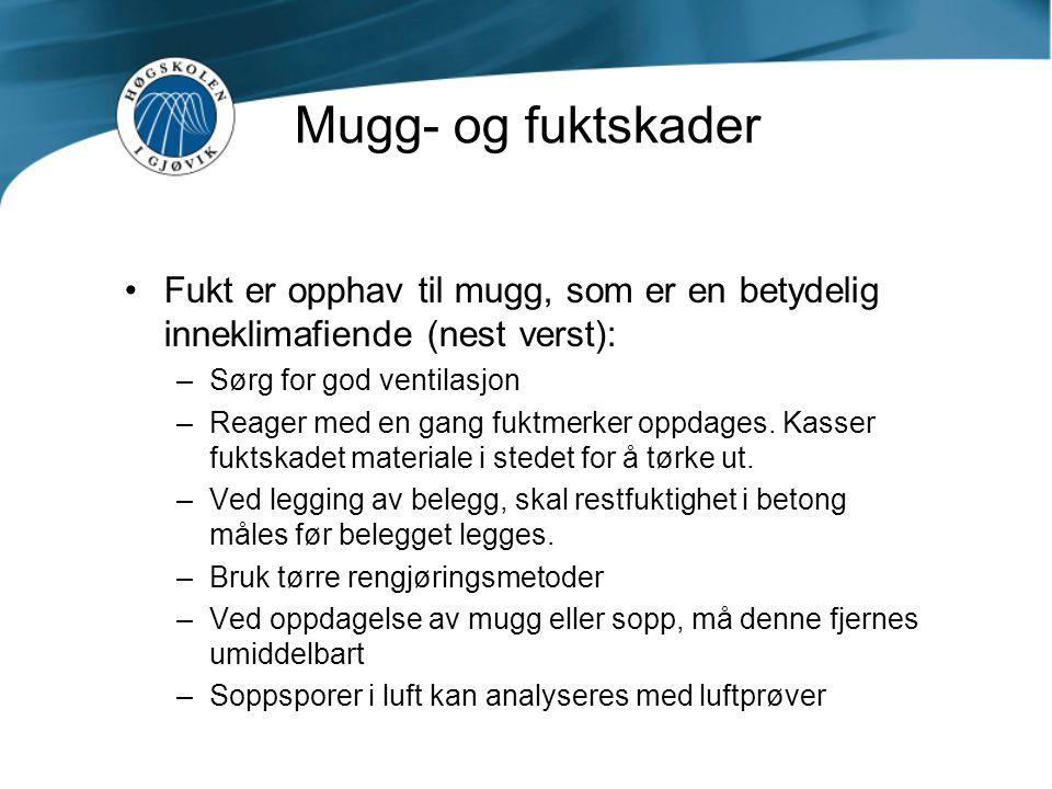 Mugg- og fuktskader Fukt er opphav til mugg, som er en betydelig inneklimafiende (nest verst): Sørg for god ventilasjon.