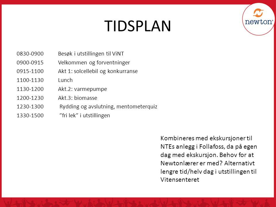 TIDSPLAN 0830-0900 Besøk i utstillingen til ViNT. 0900-0915 Velkommen og forventninger. 0915-1100 Akt 1: solcellebil og konkurranse.