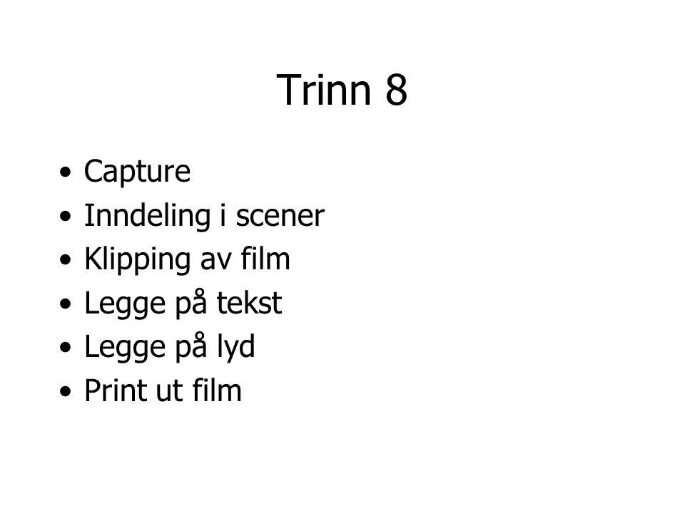 Trinn 8 Capture Inndeling i scener Klipping av film Legge på tekst