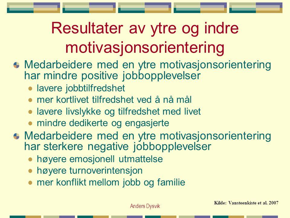 Resultater av ytre og indre motivasjonsorientering