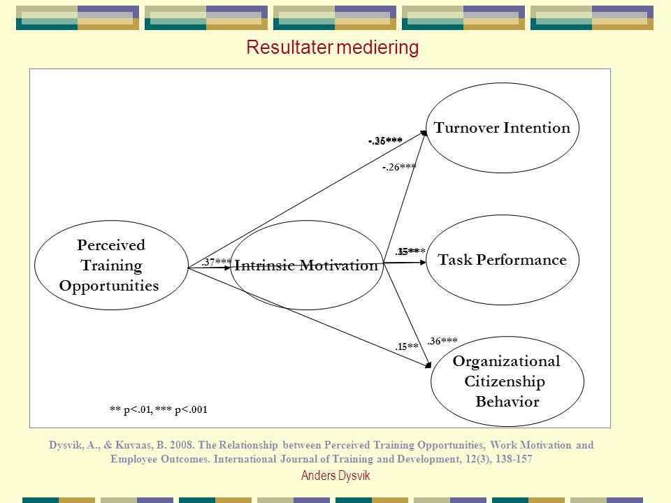 Resultater mediering Turnover Intention Task Performance Perceived