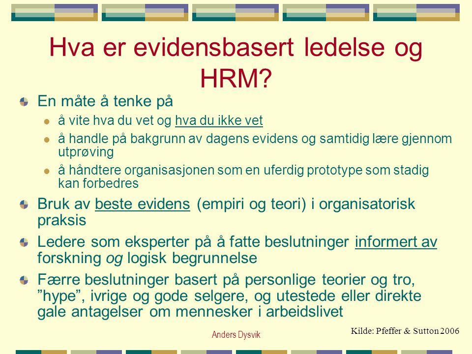 Hva er evidensbasert ledelse og HRM