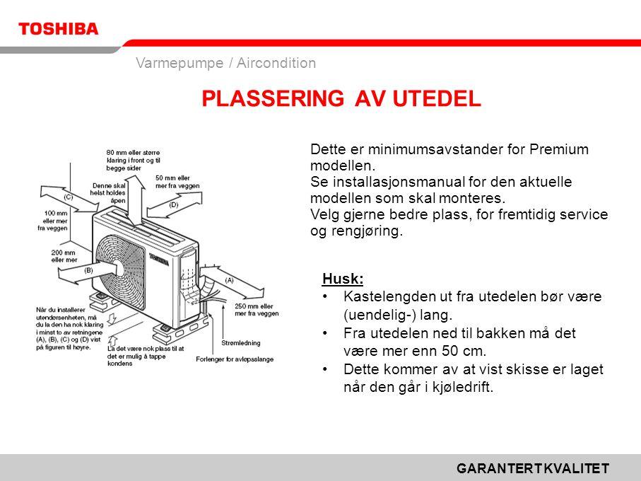 PLASSERING AV UTEDEL Dette er minimumsavstander for Premium modellen.