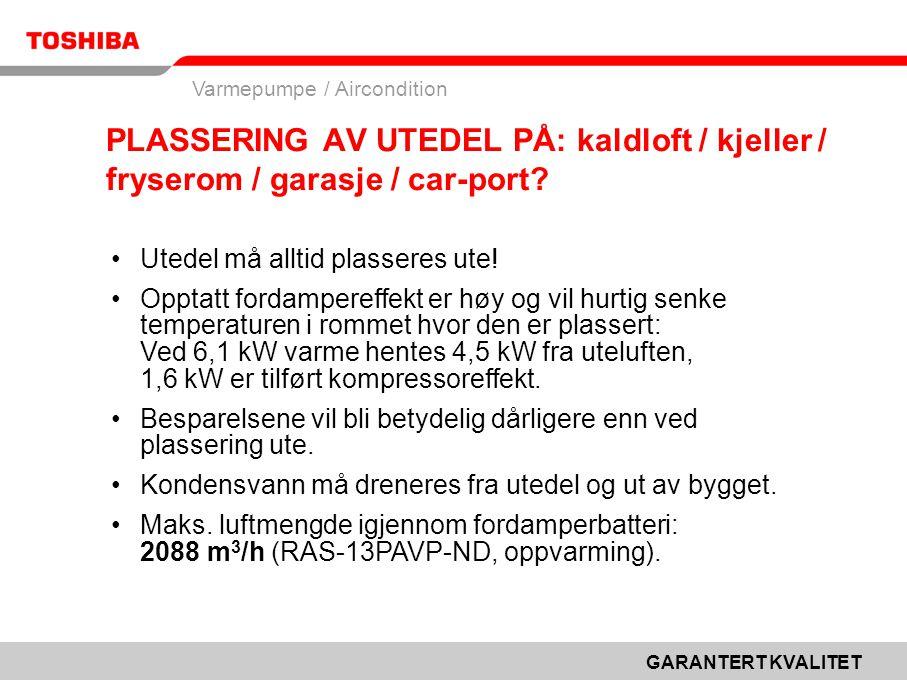 PLASSERING AV UTEDEL PÅ: kaldloft / kjeller / fryserom / garasje / car-port