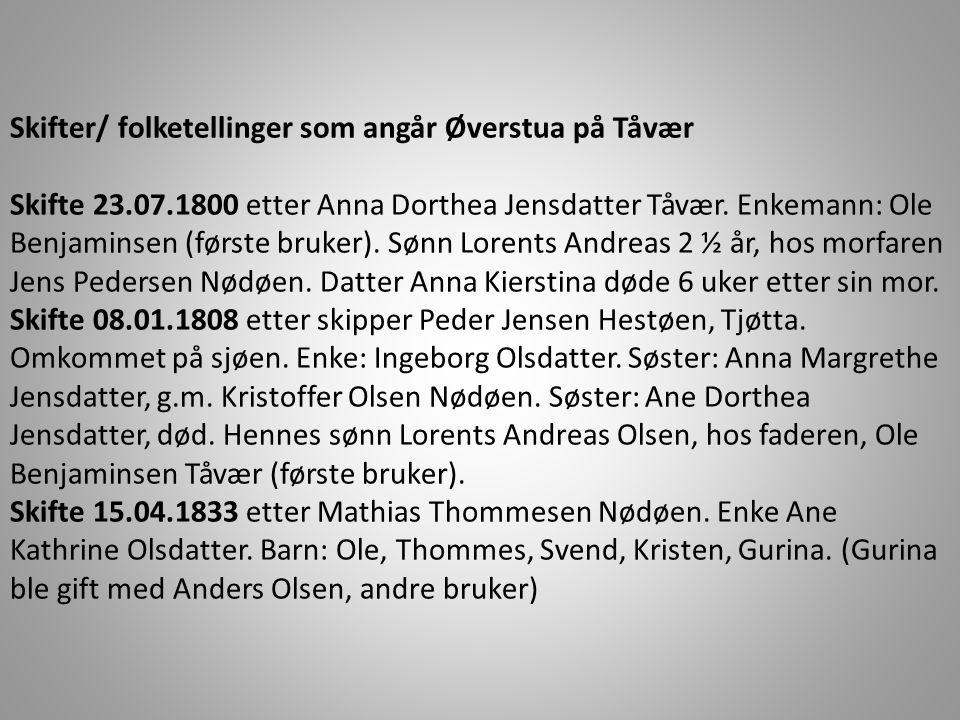 Skifter/ folketellinger som angår Øverstua på Tåvær