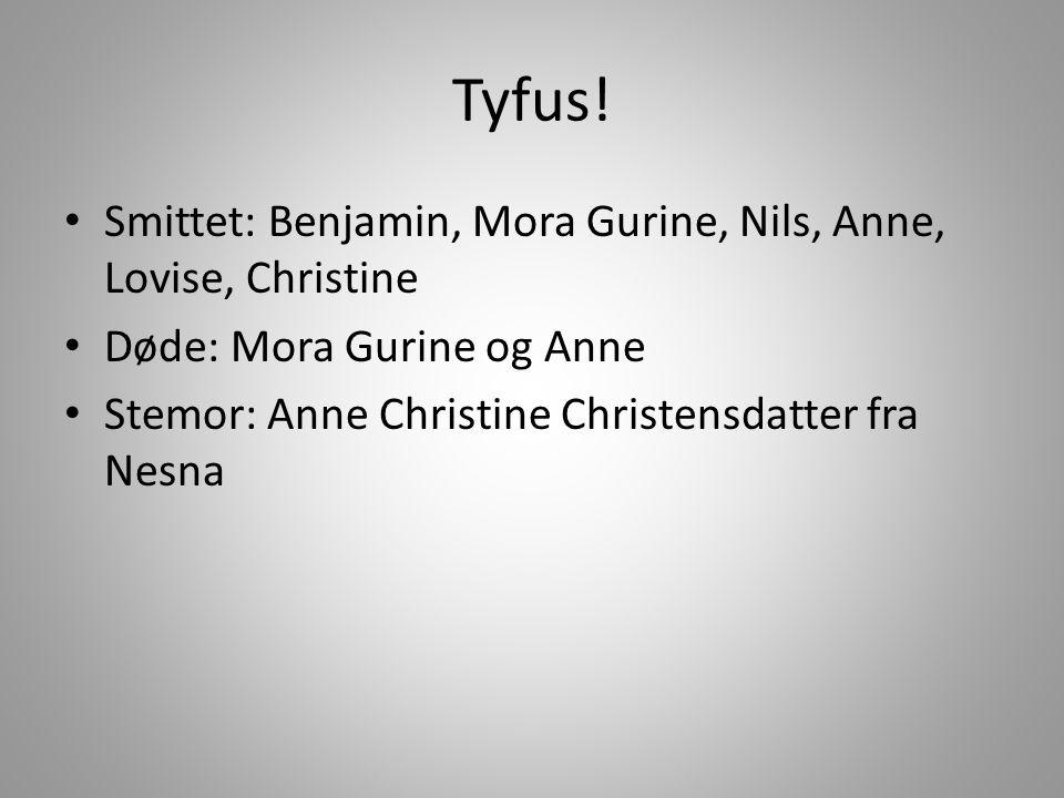 Tyfus! Smittet: Benjamin, Mora Gurine, Nils, Anne, Lovise, Christine
