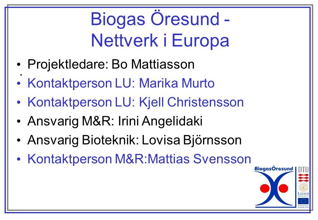 Biogas Öresund - Nettverk i Europa Projektledare: Bo Mattiasson .