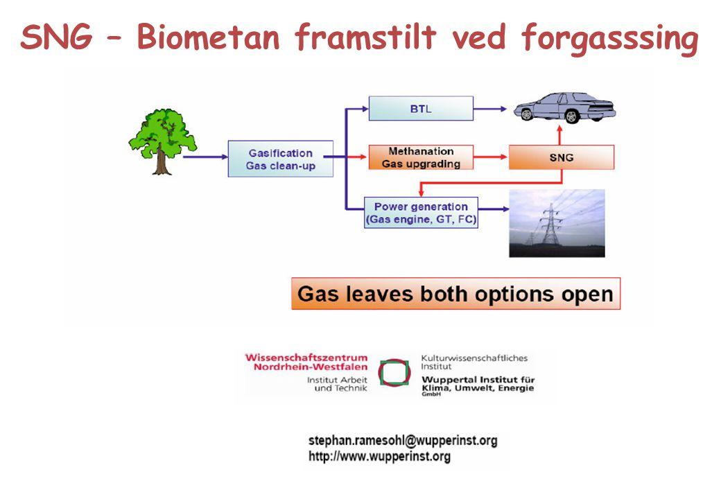SNG – Biometan framstilt ved forgasssing