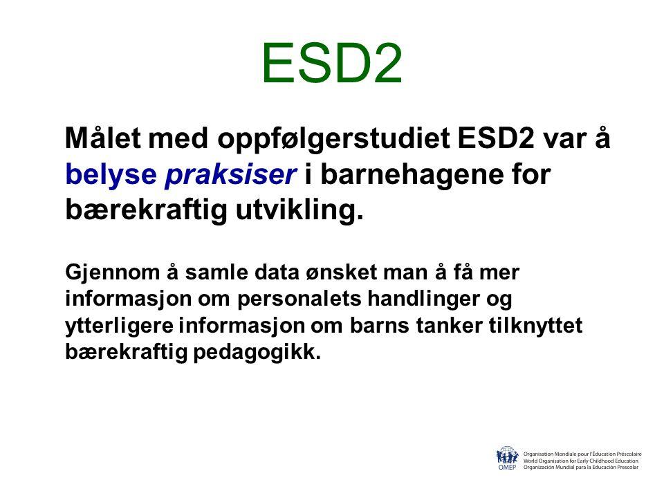 ESD2 Målet med oppfølgerstudiet ESD2 var å belyse praksiser i barnehagene for bærekraftig utvikling.
